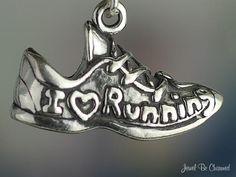 I Love Running Charm Sterling Silver Shoe Sneaker for Runners. $24.95, via Etsy.