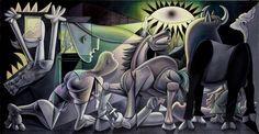 L'artiste pop et street artistRon English a décidé de rendre hommage à la célèbre peintureGuernica, réalisée par Picasso en 1937, en réinterprétant