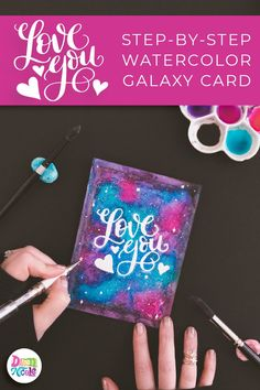 HandLettered Watercolor Galaxy Card is part of Hand Lettered Watercolor Galaxy Card Dawn Nicole Designs - Learn how to make this stunning watercolor galaxy with watercolor resist and a few simple supplies! Watercolor Galaxy, Galaxy Painting, Galaxy Art, Watercolor Cards, Watercolor Ideas, Watercolor Painting, Watercolors, Hand Lettering Tutorial, Cool Doodles