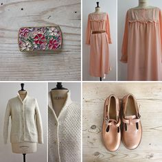 Spring look / Art deco floral enamel brooch + 20's pink silk night gown + vintage nude sandals + knitted cream cardigan