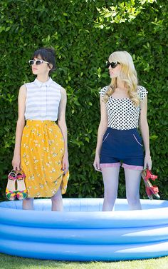 Grey and white striped sleeveless shirt and yellow floral print skirt, blue and white polka dot shirt and blue high waisted shorts