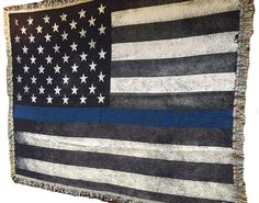 Woven Police Blanket Subdued Thin Blue Line American Flag | Brotherhood® Products