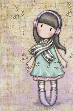 Lost in music Santoro London, Copics, Cute Dolls, Cute Illustration, Cute Cartoon, Cute Wallpapers, Cute Drawings, Cute Art, Paper Dolls