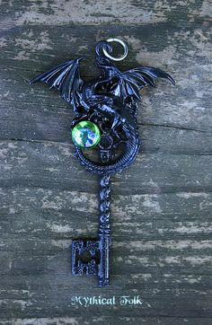 Evil Maleficent Black Dragon Key Necklace by MythicalFolk on Etsy, $34.00