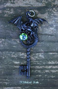 Evil Maleficent Black Dragon Key Necklace by MythicalFolk on Etsy, $34.00