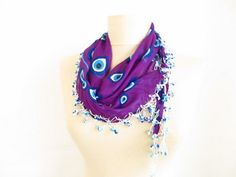 Christmas gift Green scarf evil eye scarf Turkish Oya by asuhan, $20.90