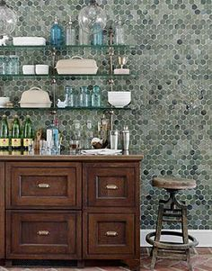 Hexagonal Tile Wall Kitchen | Atticmag