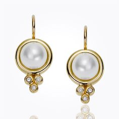"""Temple St. Clair 18k Classic Pearl Earrings with diamond granulation.  Dimensions: L: 21mm/0.8""""; W: 10mm/0.4"""" Stone Details: Cultured Pearl: 2.00ct; diamonds: 0.09cts  Now available at Diamond Dream Fine Jewelers http://www.diamonddreamjewelers.com http://www.facebook.com/diamonddreamfinejewelers http://www.twitter.com/diamond_dream_ http://plus.google.com/+DiamondDreamFineJewelersBernardsville http://www.instagram.com/diamonddreamjewelers"""