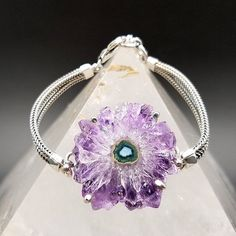 Your place to buy and sell all things handmade Crystal Centerpieces, Crystal Fashion, Sterling Silver Bracelets, Amethyst, Buy And Sell, Chain, Crystals, Flower, Purple