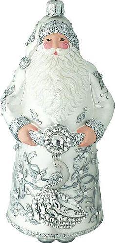 Goodman Santa (Winter Peacock) Patricia Breen Designs  (Silver, Jeweled Accents)