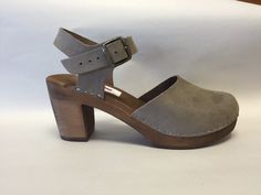 Grey Flocked Suede Dalanna on brown Super High Heel with buckled ankle strap