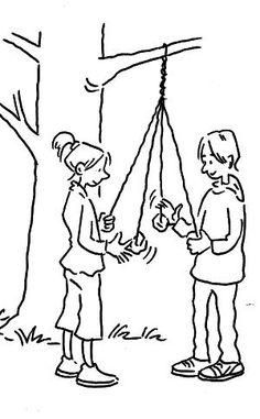 Børn slynger ved træ + andre tekninker