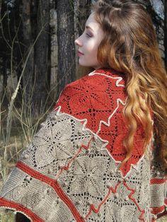 "Knit shawl ""Autumn garden"" (knitted shawl, handmade wrap, knitting wool shawl, knit patchwork)"