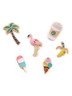 Flamingo & Palm Tree Design Brooch Set -SheIn(Sheinside)