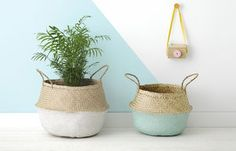 Mint Dipped Belly Basket - living room