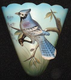 Super Nice! Vintage BLUE JAY BIRD Wall Pocket
