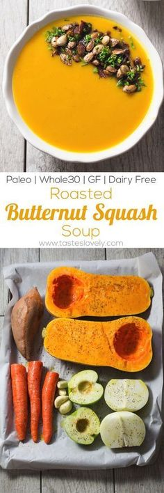 Paleo Roasted Butternut Squash Soup - the oven and your blender does all the work for you! Dairy free gluten free Paleo Roasted Butternut Squash Soup - the oven and your blender does all the work for you! Paleo Soup, Healthy Soup Recipes, Vegetarian Recipes, Cooking Recipes, Paleo Diet, Chili Recipes, Paleo Fall Recipes, Dinner Recipes, Vegan Soups