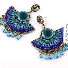 "✨RESTOCKED! BLUE DANGLE EARRINGS This seasons must have! 3"" length. 2"" width. -No trades. Jewelry Earrings"