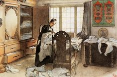 """Karin At The Linen Cupboard"", Watercolour by Carl Larsson (1853-1919, Sweden)"
