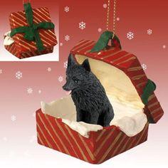 Schipperke Dog Red Gift Box Holiday Pet Ornament