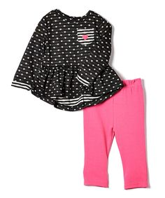 Look at this Baby Essentials Black & Hot Pink Heart Top & Pants - Infant on #zulily today!