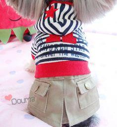 Nuevo! Moda encantador estilo college guión raya ocio ropa para mascotas perro/gato vestido de primavera y otoño envío gratis en Ropa de Casa y Jardín en AliExpress.com | Alibaba Group