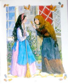 Snow White and the Seven Dwarfs book illustration by Anna C. Leplar