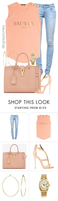 """""""Saturday"""" by highfashionfiles ❤ liked on Polyvore featuring Anine Bing, Balmain, Yves Saint Laurent, Giuseppe Zanotti, Phyllis + Rosie and Rolex"""