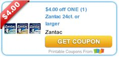 $4.00 off ONE (1) Zantac 24ct. or larger printable coupon #Zantaccoupon