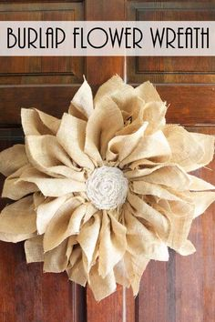 Add some farmhouse flair to your front door by adding a burlap flower wreath. It is easy to make with just a few inexpensive supplies. Add it to your spring porch decor with this easy DIY tutorial. If you love all things rustic, this is definitely the Burlap Projects, Burlap Crafts, Wreath Crafts, Diy Wreath, Door Wreaths, Burlap Wreaths For Front Door, Decor Crafts, Fabric Crafts, Craft Projects