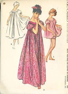 UNCUT 1950s McCalls Pattern 4610 Womens MuuMuu Night Gown B 38 to 40