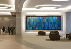 Housberg's art glass wall at The Chase Center
