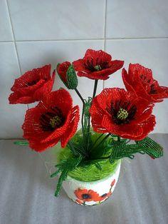 French Beaded Red Poppy Flower. МАКИ ИЗ БИСЕРА. Обсуждение на LiveInternet - Российский Сервис Онлайн-Дневников