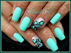 Mint Sand & Bows by RadiD - Nail Art Gallery nailartgallery.nailsmag.com by Nails Magazine - Sand (textured nail) with gloss.....another trending look