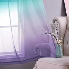 Lilac and Turquoise Curtains for Bedroom Girls Room Decor Set of 2 Panels Ombre Patterned Window Semi Sheer Curtains for Living Room Kids Nursery Mermaid Themed Green and Purple 52 x 84 Inch Length Girls Bedroom Curtains, Nursery Curtains, Room Decor Bedroom, Bedroom Girls, Living Room Decor, Nursery Room, Bed Room, Pink Sheer Curtains, Turquoise Curtains