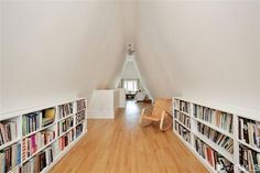 Attic Library in a Steeply-Pitched Roof Home in Cole Valley district of San Francisco