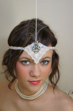Ivy- Roaring 20's inspired White Wedding Headpiece. Need to make some ornate headbands for the photobooth... or as party favors.