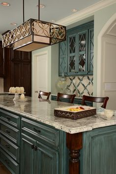 Birmingham Traditional Home Design, Pictures, Remodel, Decor and Ideas - page 2 Teal Kitchen Cabinets, Distressed Kitchen Cabinets, Backsplash With Dark Cabinets, Backsplash Ideas, Kitchen Backsplash, Granite Backsplash, Grey Cabinets, Kitchen Island, Traditional Kitchen Interior