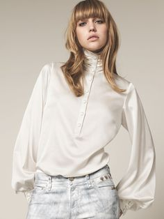 Silk Blouse with Billowy Sleeves