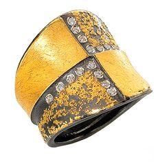 """T"" Ring by Atelier Zobel - Germany   in 22k yellow gold, pure gold, and graphite sterling silver with 17 champagne diamonds"