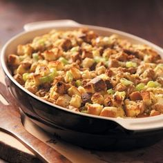 Traditional Holiday Stuffing Recipe from Taste of Home -- Sausage and sage add a gourmet taste to this stuffing.  —Lorraine Brauckhoff, Zolfo Springs, Florida