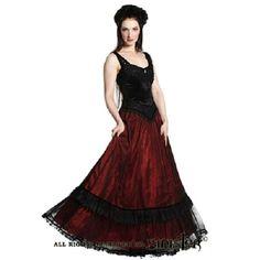 Alexandra lange middeleeuwse gothic jurk van zwart/bordeaux rood satijn - Gothic Halloween - S - Sinister