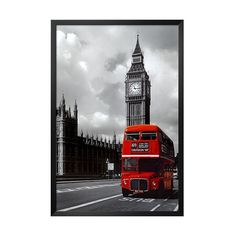 Art.com - London Red Bus Framed Poster ($70) ❤ liked on Polyvore featuring home, home decor, wall art, art, backgrounds, random, home wall decor, london poster, red wall art and wall posters
