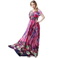 [US $30.13] - New Plus Size Bohemia Maxi Women Dresses Vestidos Floral Print Batwing Sleeve Beach Dress XL-7XL High Waist Elegant Summer Dress