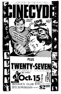 Cinecyde and The Twenty-Seven flyer. Playing at Bookies Club 870, Detroit, Michigan.