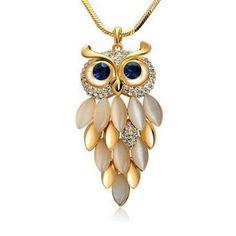 Gufo Scala - Owl CZ Diamond Gold / Silver Long Chain Necklace