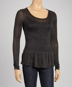 Take a look at this Black Peplum Top by Derek Heart on #zulily today!