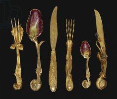 Salvador Dali silver-gilt cutlery, 1957