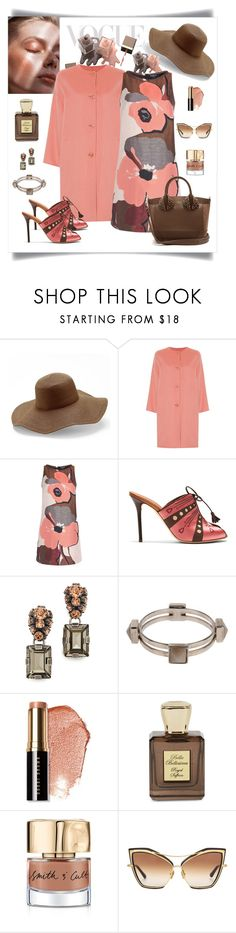 """""""Paule Ka A-Line Pansy Print Jacquard Dress Look"""" by romaboots-1 ❤ liked on Polyvore featuring Peter Grimm, MaxMara, Malone Souliers, Marni, Bobbi Brown Cosmetics, Bella Bellissima, Smith & Cult, Dita and Christian Louboutin"""