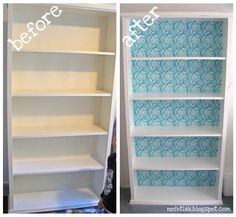 Or maybe I will get a simple white bookcase and do this...Mod Podge + Fabric = A beautiful and unique bookcase.